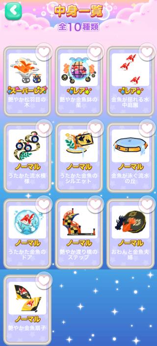ポケコロガチャ涼夏金魚(コロニー中身一覧)