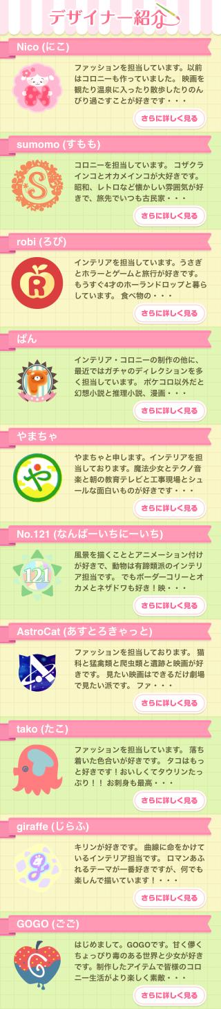 ポケコロガチャいちごミルクナース(デザイナー紹介一覧)
