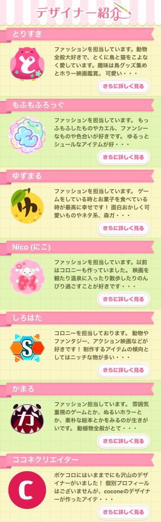 ポケコロスクラッチ春色ケーキパーティー(デザイナー紹介一覧)