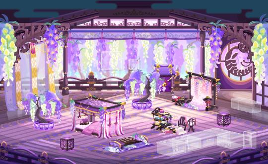 ポケコロガチャ籠中の姫と藤の庭(インテリア見本)