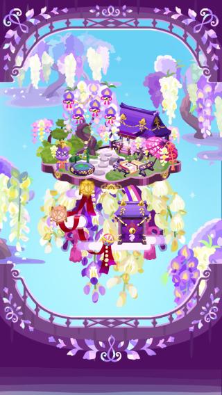 ポケコロガチャ籠中の姫と藤の庭(コロニー見本)