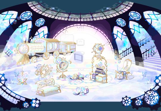 ポケコロVIPガチャ時の女神と記憶の駅(インテリア見本)