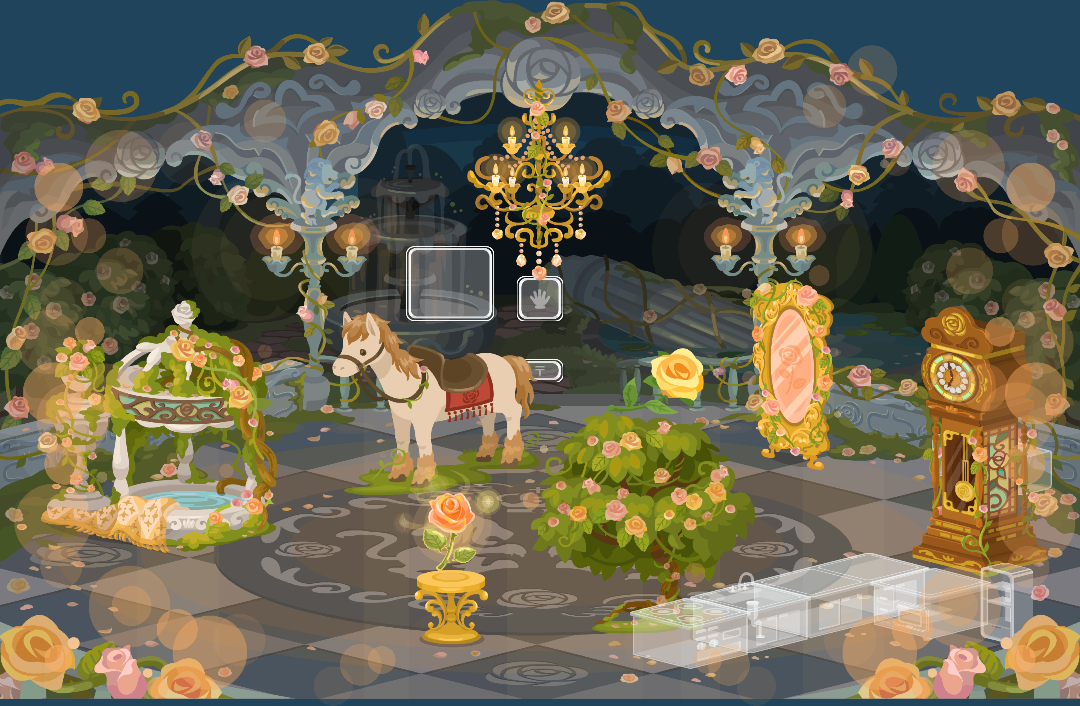 ポケコロ復刻ガチャ美女と野獣とバラ咲く城(インテリア見本)